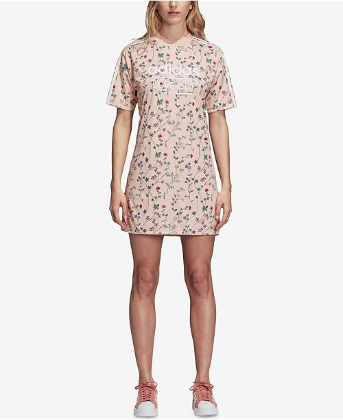 31c32e93 adidas Floral-Print T-Shirt Dress & Reviews - Dresses - Women - Macy's