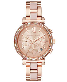 Michael Kors Women's Chronograph Sofie Rose Gold-Tone Stainless Steel & Blush Acetate Bracelet Watch 39mm