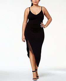 Soprano Trendy Plus Size Lace-Trim Slip Dress