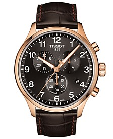 Men's Swiss Chronograph Chrono XL Classic T-Sport Brown Leather Strap Watch 45mm