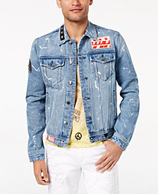 GUESS Men's Bleach-Splatter Patch Denim Jacket