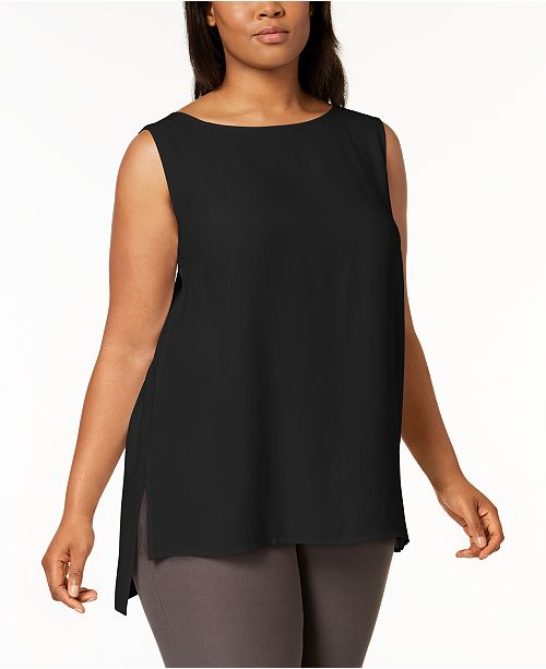 cffd9aca3b0da1 Eileen Fisher Plus Size SYSTEM Silk High-Low Tunic   Reviews - Tops ...