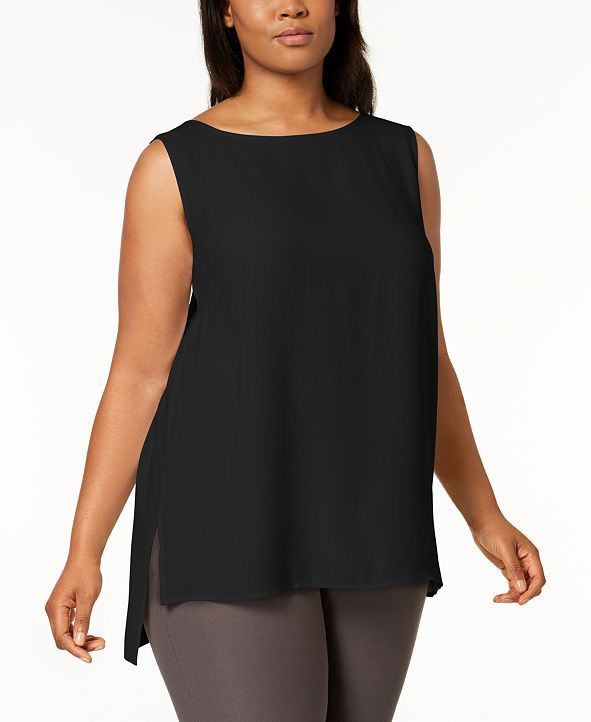 Eileen Fisher Plus Size Silk High-Low Tunic