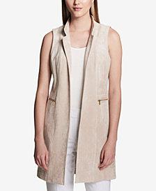Calvin Klein Faux-Suede Zipper-Pocket Vest