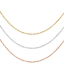 "Italian Gold 14k Gold, 14k White Gold and 14k Rose Gold Necklaces, 16-20"" Perfectina Chain"