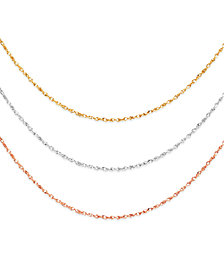 "14k Gold, 14k White Gold and 14k Rose Gold Necklaces, 16-20"" Perfectina Chain"