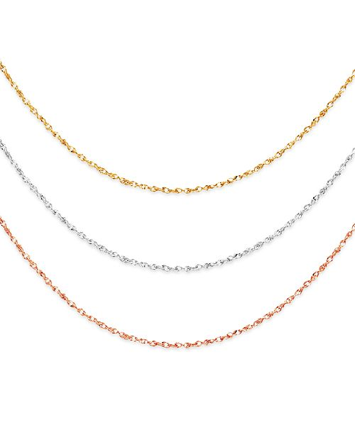 "Macy's Italian Gold 14k Gold, 14k White Gold and 14k Rose Gold Necklaces, 16-20"" Perfectina Chain"