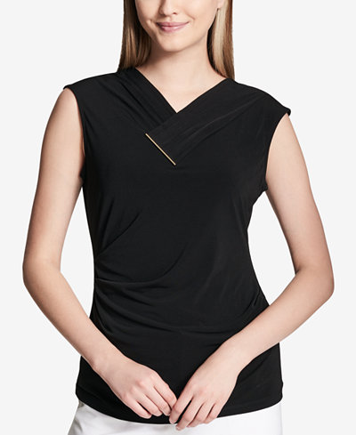 Calvin Klein Ruched Hardware-Embellished Top