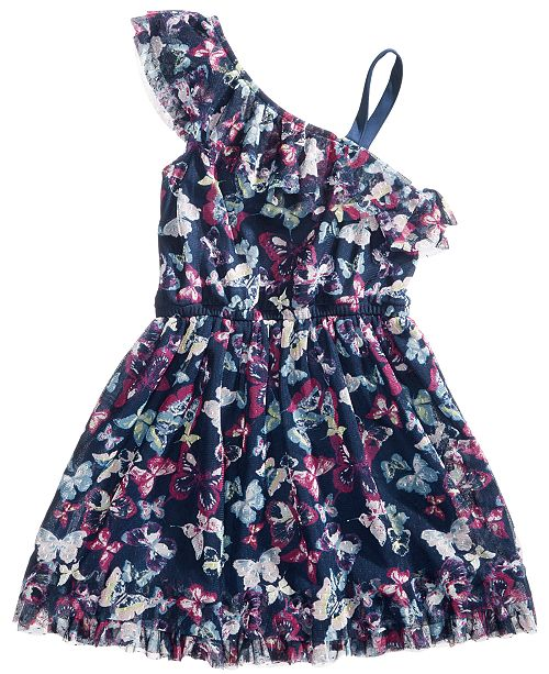 Epic Threads One Shoulder Butterfly-Print Dress, Little Girls, Created for Macy's