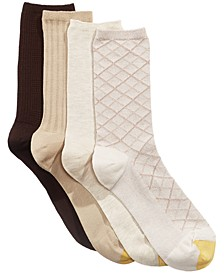Women's 4 Pack Textured Crew Socks
