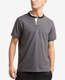 Kenneth Cole.Knit Band-Collar T-Shirt