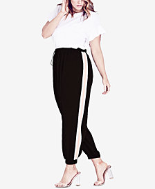City Chic Trendy Plus Size Side-Stripe Jogger Pants