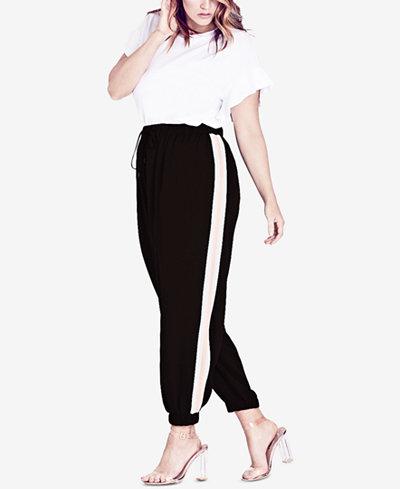 City Chic Trendy Plus Size Side-Stripe Jogger Pants