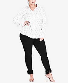City Chic Trendy Plus Size Bird-Print Blouse