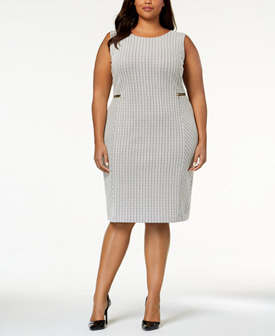 Calvin Klein Plus Size Zipper-Trim Sheath Dress