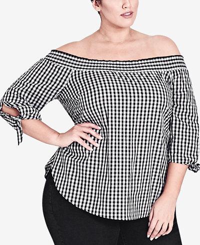 City Chic Trendy Plus Cotton Size Off-The-Shoulder Top