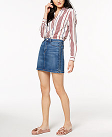 Joe's The Bella Braided-Detail Denim Skirt