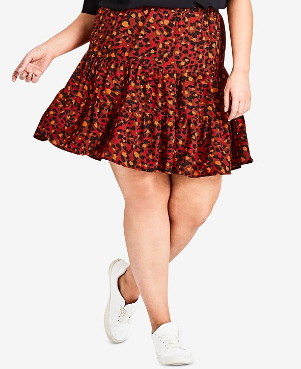 City Chic Trendy Plus Size Animal-Print Skirt