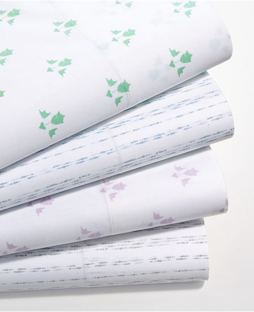 Martha Stewart Collection  CLOSEOUT! Organic Printed 300 Thread Count GOTS Certified Sheet Sets, Created for Macy's