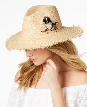 Steve Madden Embellished Insects Panama Hat 5508513