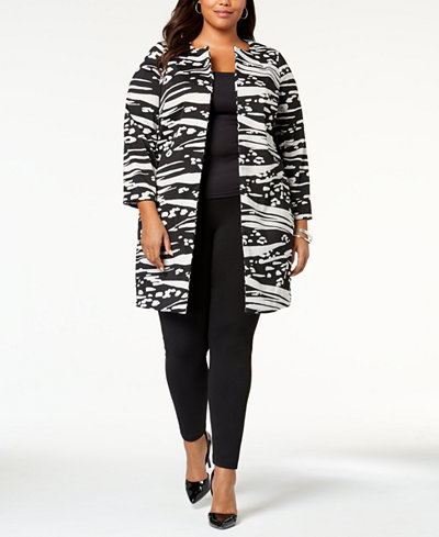 Alfani Plus Size Printed Textured Topper Jacket, Created for Macy's