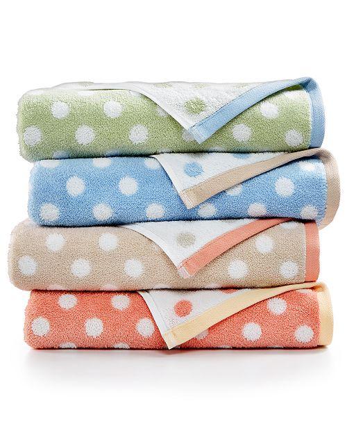 Martha Stewart Collection Cotton Spa Fashion Dot Bath Towel ...