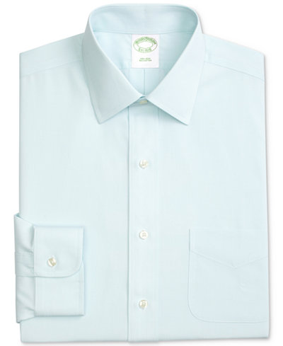 Brooks Brothers Men's Classic/Regular Fit Non-Iron Ainsley Broadcloth Stretch Dress Shirt