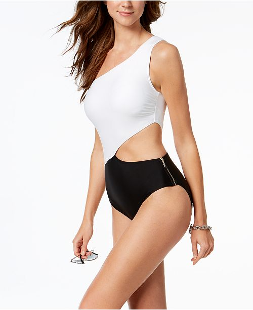 e8bce63ba3 Michael Kors One-Shoulder Cutout One-Piece Swimsuit   Reviews ...
