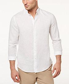 Tasso Elba Island Men's Band-Collar Linen Shirt, Created for Macy's