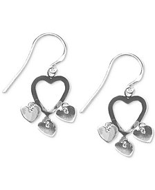 Giani Bernini Heart Dangle Drop Earrings in Sterling Silver, Created for Macy's