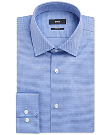 BOSS Men's Sharp-Fit Basketweave Cotton Dress Shirt