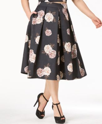 Trendy Plus Size Pleated A-Line Skirt