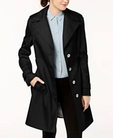 Calvin Klein Petite Belted Hooded Water Resistant Trench Coat
