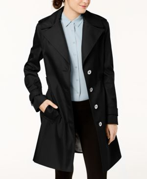 PETITE BELTED HOODED TRENCH COAT
