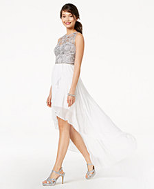 City Studios Juniors' Embroidered & Embellished High-Low Dress