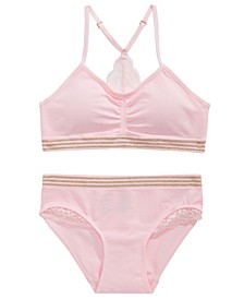 Lace-Trim Bra & Underwear Separates, Little & Big Girls