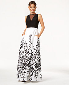 Morgan & Company Juniors' Illusion Printed & Solid Gown