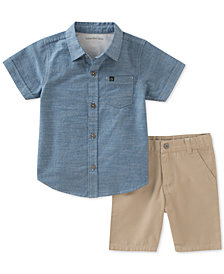 Calvin Klein 2-Pc. Cotton Chambray Shirt & Shorts Set, Little Boys
