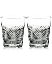 Diamond Line Double Old Fashioned Glass Pair