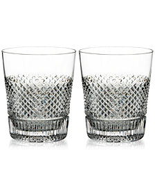 Waterford Diamond Line Double Old Fashioned Glass Pair