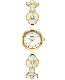 kate spade new york Women's Metro Gold-Tone Stainless Steel & Mother-Of-Pearl Bracelet Watch 21mm