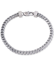 Esquire Men's Jewelry Herringbone Bracelet in Stainless Steel, Created for Macy's