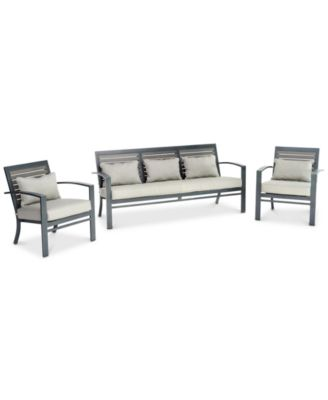 Marlough II Aluminum Outdoor 3-Pc. Seating Set (1 Sofa, & 2 Club Chairs) with Sunbrella® Cushions, Created for Macy's
