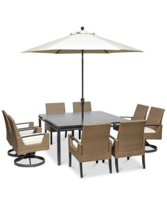 """Genevieve Outdoor Aluminum & Wicker 9-Pc. Dining Set (62"""" Square Dining Table, 4 Dining Chairs and 4 Swivel Rockers) with Sunbrella® Cushions, Created for Macy's"""