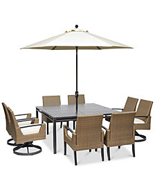 "CLOSEOUT! Genevieve Outdoor Aluminum & Wicker 9-Pc. Dining Set (62"" Square Dining Table, 4 Dining Chairs and 4 Swivel Rockers) with Sunbrella® Cushions, Created for Macy's"
