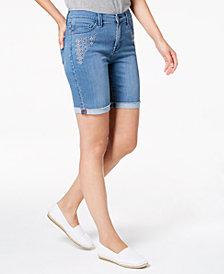 Lee Platinum Petite Embroidered Stretch-Denim Shorts