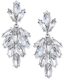 Jewel Badgley Mischka Silver-Tone Marquise Crystal Cluster Drop Earrings