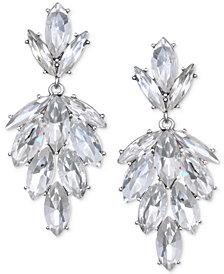 Jewel Badgley Mischka Silver-Tone Marquise Crystal Cluster Drop Earrings