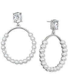 Jewel Badgley Mischka Silver-Tone Imitation Pearl & Crystal Drop Earrings