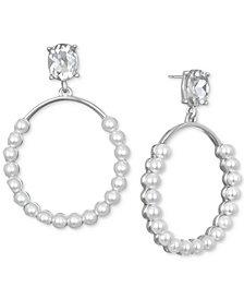 Jewel Badgley Mischka Silver-Tone Imitation Pearl & Crystal Drop Earrings